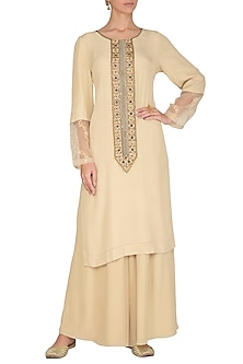 Nude Embroidered Printed Kurta With Pants by Ruchira Nangalia