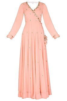 Peach Embroidered Anarkali Set by Ruchira Nangalia