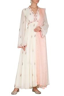 Blush Pink Embroidered Anarkali Set by Ruchira Nangalia