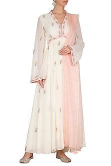 Blush Pink Embroidered Anarkali Set by Ruchira Nangalia