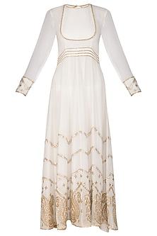 White Embellished Anarkali Set by Ruchira Nangalia