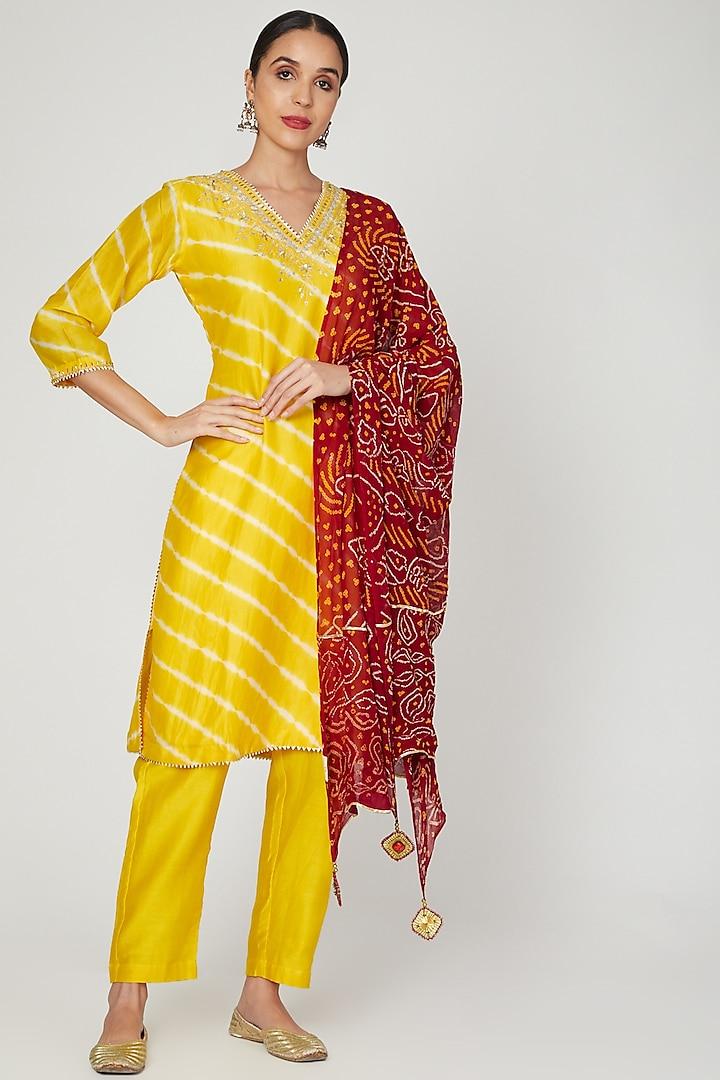 Yellow Leheriya & Embroidered Kurta Set   by Ruchira Nangalia
