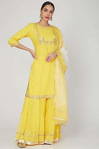 Haldi Yellow Gota Embroidered Kurta Set by Ruchira Nangalia