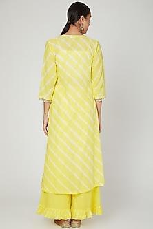 Yellow Embroidered Jacket Set by Ruchira Nangalia