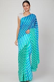 Turquoise Leheriya Ombre Saree Set  by Ruchira Nangalia