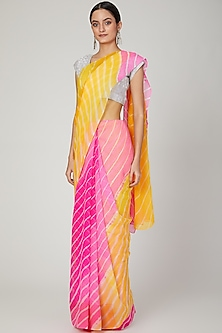 Pink & Yellow Leheriya Saree Set by Ruchira Nangalia