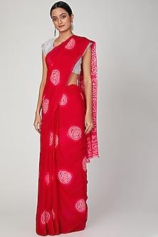 Red Hand Dyed Saree Set by Ruchira Nangalia
