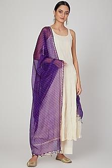 Purple Hand Dyed Dupatta by Ruchira Nangalia