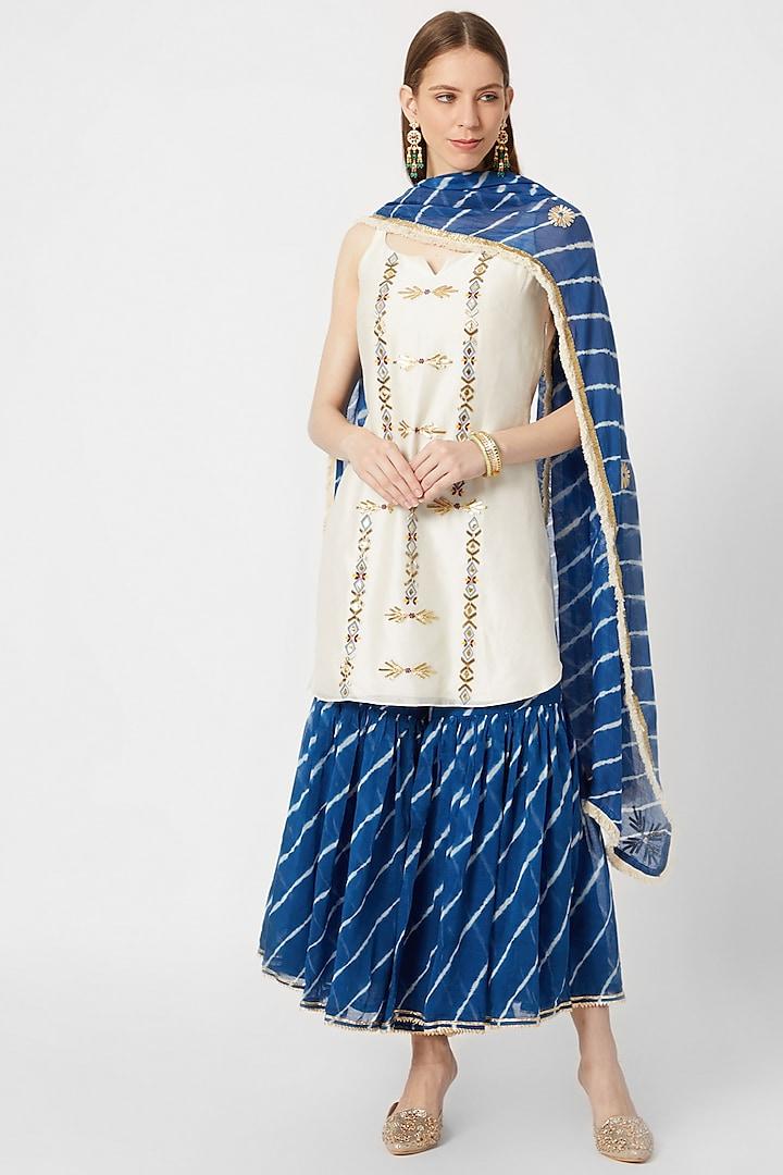 White & Sea Blue Leheriya Printed Sharara Set by Ruchira Nangalia