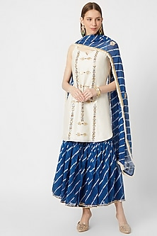 White & Sea Blue Leheriya Printed Sharara Set by Ruchira Nangalia