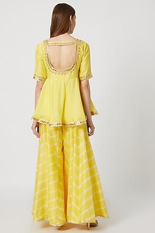 Yellow Embroidered & Leheriya Printed Kurta Set by Ruchira Nangalia