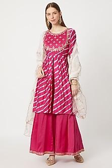 Rani Pink Leheriya & Embroidered Kurta Set by Ruchira Nangalia