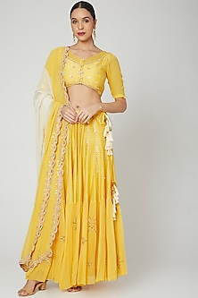Yellow Mirrors Embroidered Lehenga Set by Ruchira Nangalia