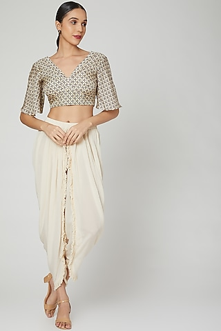 White Printed Blouse With Dhoti Pants by Ruchira Nangalia