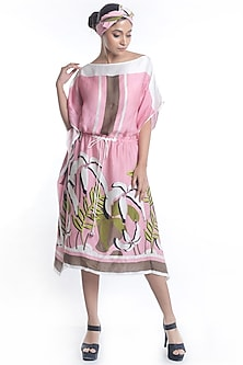 Mauve Embroidered & Printed Kaftan Dress by Rimi Nayak