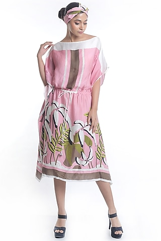 Mauve Embroidered & Printed Kaftan Dress by Rimi Nayak