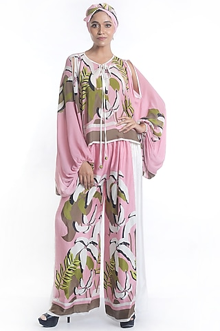 Mauve Embroidered & Printed Top With Pants by Rimi Nayak