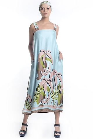Sky Blue Embroidered & Printed Dress by Rimi Nayak