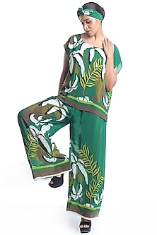 Emerald Green Embroidered & Printed Top With Pants by Rimi Nayak