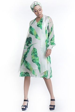 White Banana Leaf Printed Dress by Rimi Nayak