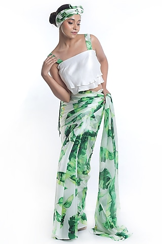 White Banana Leaf Printed Saree Set by Rimi Nayak