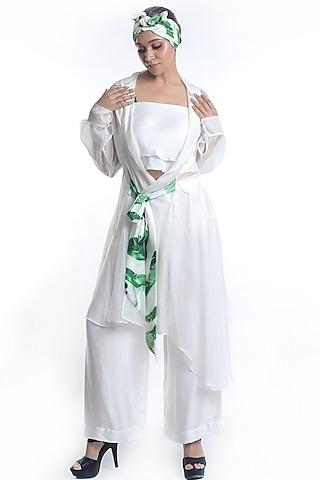 White Banana Leaf Printed Jacket Set by Rimi Nayak