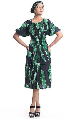 Black Banana Leaf Printed Dress by Rimi Nayak