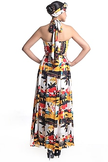 White Floral Printed Draped Dress by Rimi Nayak