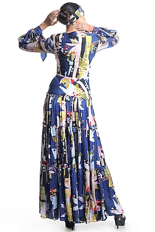 Cobalt Blue Tiered Printed Dress by Rimi Nayak