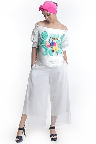 White Printed Off Shoulder Top With Pants by Rimi Nayak