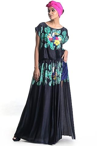 Black Printed Skirt Set by Rimi Nayak