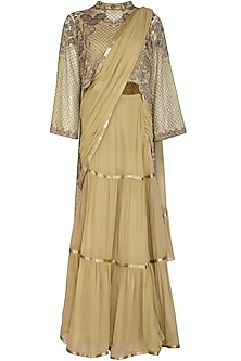 Honey Beige Embroidered Lehenga Saree Set by Rabani & Rakha