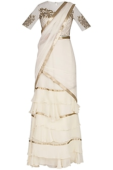 Ivory Embroidered Saree Set by Rabani & Rakha