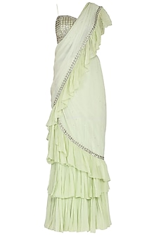 Lime Green Embroidered Lehenga Saree Set by Rabani & Rakha