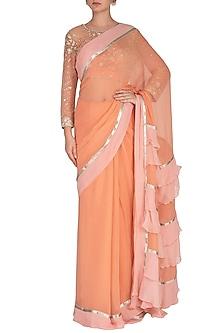 Peach Embroidered Saree Set by Rabani & Rakha