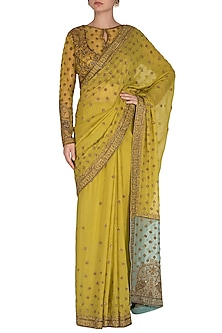 Lime Green Embroidered Saree Set by Rabani & Rakha
