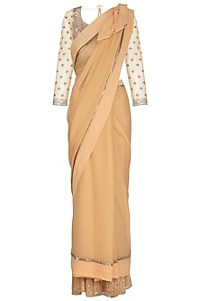 Honey Beige Embroidered Saree Set by Rabani & Rakha