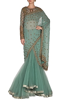 Teal Embroidered Lehenga Saree Set by Rabani & Rakha