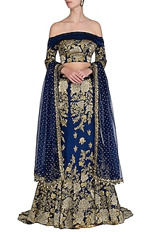 Navy Blue Embroidered Lehenga Set by Rabani & Rakha