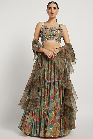 Multi Coloured Trellis Lehenga Set by Rabani & Rakha