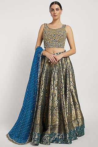 Blue & Gold Hand Embroidered Lehenga Set by Rabani & Rakha