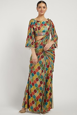 Multi Colored Printed Draped Saree by Rabani & Rakha