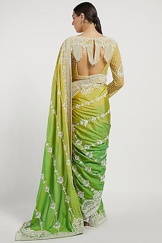 Yellow Hand Embroidered Saree Set by Rabani & Rakha