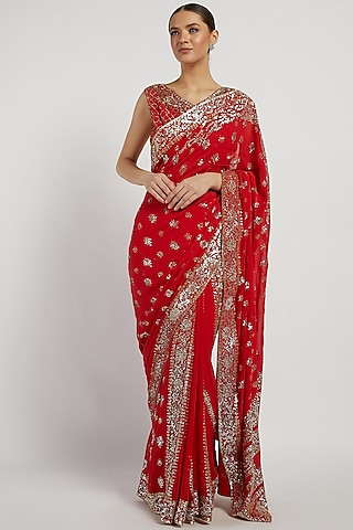 Red Hand Embroidered Saree Set by Rabani & Rakha