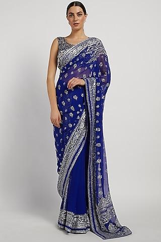 Royal Blue Hand Embroidered Saree Set by Rabani & Rakha