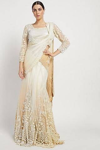 Off White Hand Embroidered Lehenga Saree Set by Rabani & Rakha