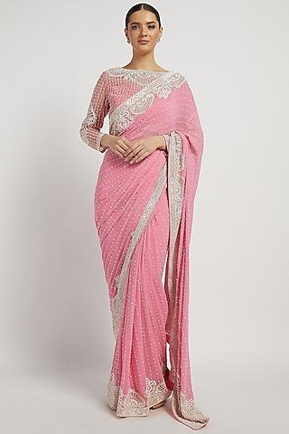 Pink Hand Embroidered Saree Set by Rabani & Rakha