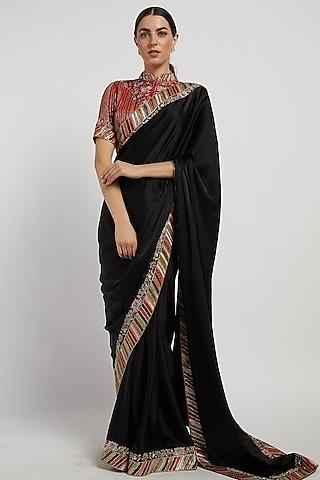 Black Hand Embroidered Saree Set by Rabani & Rakha