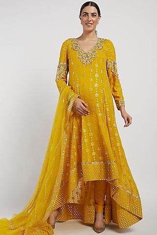 Yellow Hand Embroidered Anarkali Set by Rabani & Rakha