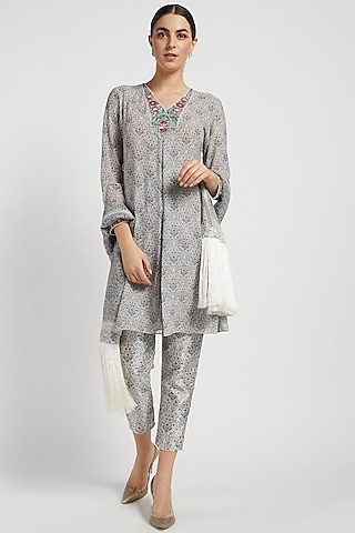 Grey Printed Kurta Set by Rabani & Rakha